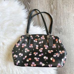 COACH | Black Floral Purse Hand Bag w/ Silver